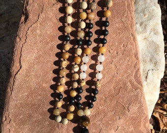 Natural Gemstone 108 Bead 8mm Mala / Prayer Beads / Necklace -  Picture Jasper, Peach Aventurine, Onyx, Quartz, Tiger's Eye