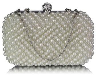 Gorgeous  Ivory Pearl Bridal Clutch Bag BAG 8