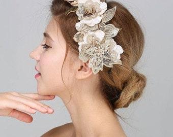 Pretty Cream & Golden Floral Wedding Hair Decoration