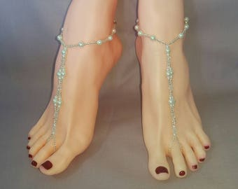 A Pair of Bridal Barefoot Sandals Pearl With Accent Bead Detail Anklet Wedding Beach Foot Jewelry