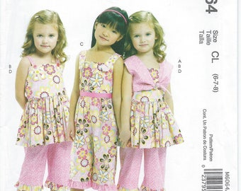 McCalls M6064, Girls, Bolero, Girl Dress, Girls Jumpsuit, Girl Pants, Sewing Pattern, Tie Bolero, Girl Shrug Top, Size 6-7-8, Uncut, New