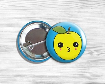 "Kawaii Apple Vegan Vegetarian Fruit Pin Back Button Pin 1.75"""