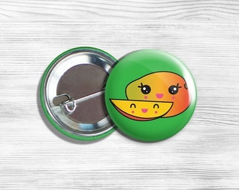 Kawaii Mango Vegan Vegetarian Fruit Pinback Button Pin 1.75""
