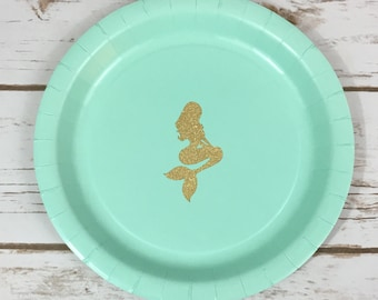 Under the Sea Paper Plates, Glitter Mermaid Plates, Mermaid Tableware, Birthday Party, Baby Shower