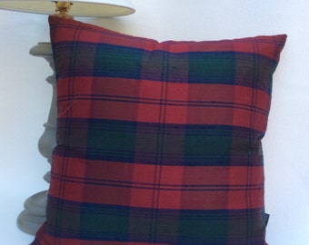 Tartan Silk and Red Velvet Cushion - 49cm x 49cm with Feather Pad