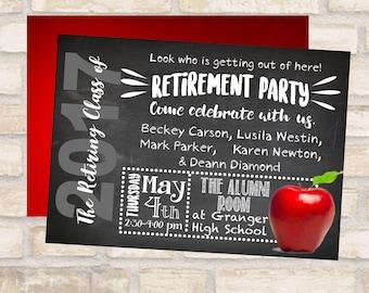 Retirement invitation or retirement flyer for teacher retirement announcement retiring graduating class of 2017- chalkboard, red apple flier