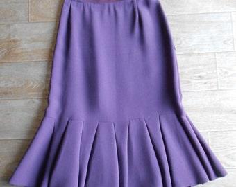 Prada : jupe longue crêpe de laine violet, plis, taille XS = 34 fr, vintage 90s jupe plissée femme luxe Made in Italy jupes vintage