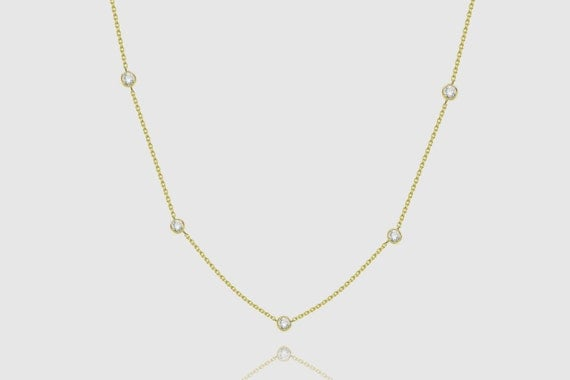 14k Solid Yellow White Rose Gold Yard 0.72ct Women's Chain Necklace 16""