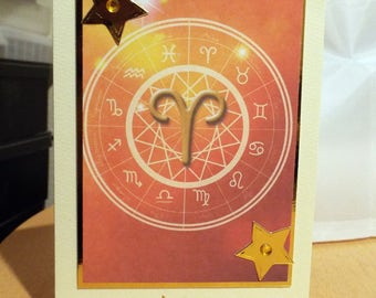 Aries - Horoscope/Zodiac/Star Sign Handmade Birthday Card - Mar 21 to Apr 19 - luxury personalised unique quality special astrological UK