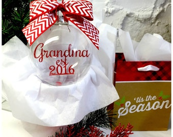 Grandmother Ornament; First Christmas as Grandma;  Grandma's First Christmas Ornament; Glam-ma Ornament; Grandmom Gift; Floating Ornament