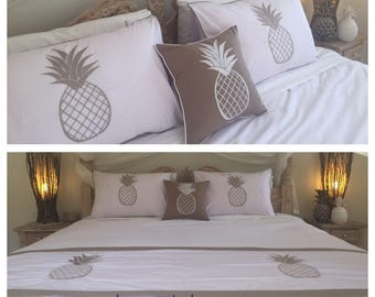 Villa Style Bed Linen, Pineapple Pillow Cases, Bed Runner & Cushion Cover