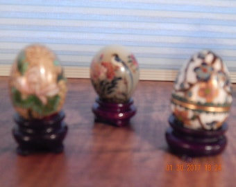 Vintage-3 small miniature eggs/2 cloisonne, 1 jade-all on wood stands