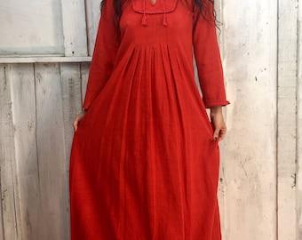 Vintage Indian Maxi Dress//Indian Gauze Cotton Dress// Bohemian Indian Dress// 1970s Boho Gypsy Dress// Ethnic Hippie Tribal Dress
