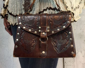 Vintage Leather Bag// Handtooled Leather Purse// 1970s Leather Bag// Hippie Gypsy Boho Festival Bag
