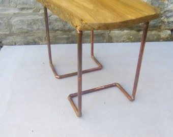 Cherry wood and copper side table