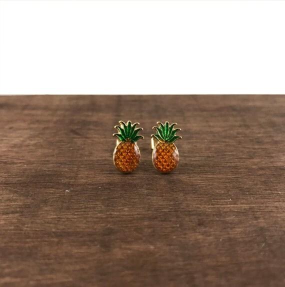 Pineapple Earrings, Pineapple Studs, Golden Pineapple Earrings, Golden Pineapple Studs, Fruits Earrings, Fruits Studs, Tropical Fruit Studs