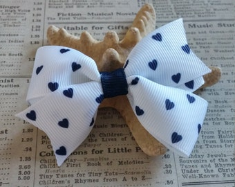 Uniform Hair Bow, Blue Navy Heart Hair Bow, Party Favors, Stocking Stuffers