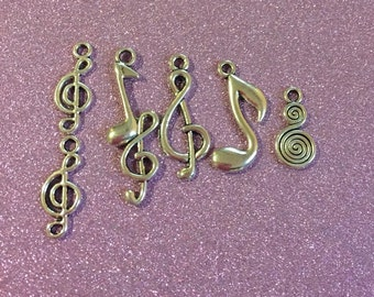 6 Tibetan Style Antique Silver Music Charms