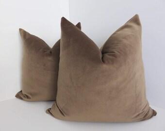 Light Brown Velvet Pillow Covers- Velvet Pilow covers- Solid Brown Pillows- Luxuarious Pillow Covers- velvet Pillows