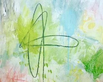 Original Abstract Painting on paper, home decor, mixed media, art