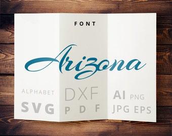 Script Svg calligraphic font svg Cuttable design letters svg dxf png pdf jpg ai for Silhouette, Cricut, Heat Press Transfer