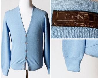 Vintage Men's Cardigan Sweater - Thane 70s Retro Medium M