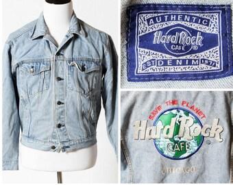 Vintage Hard Rock Cafe Denim Jean Jacket - 80s Vintage Retro Men's Medium Women's Large