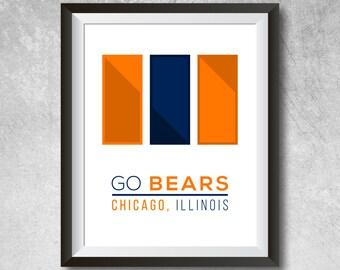 Chicago Bears Wall Art chicago bears wall art   etsy