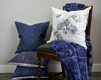 Bird Skeleton Pillow, decorative pillow, black and white graphic, canvas pillow, botanical print, throw pillow