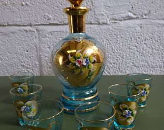 Beautiful Glass Decanter & 6 Shot Glasses/Made in Italy/Vintage/1960s-1970s