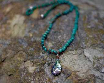 Turquoise and Abalone Shell Necklace