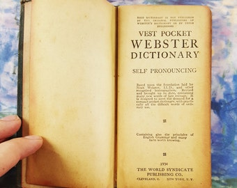 Webster's Dictionary New Census Edition 1934 Vest Pocket Dictionary, Antique Book, B0221
