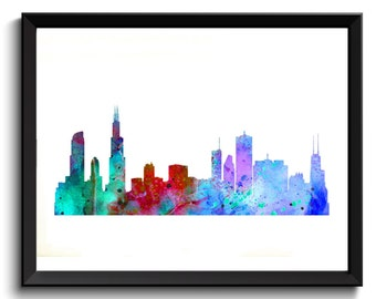 Printable Chicago Art - Chicago Illinois Art, State Art, Watercolor Chicago Art, Red/Aqua, Chicago Skyline Art, Cityscape Watercolor Art