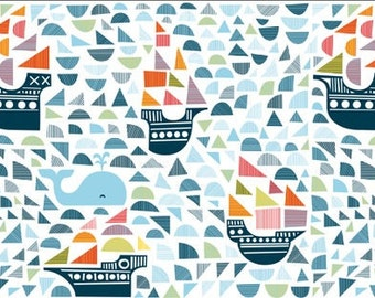 Ships and Whales Sheet. Ships. Whales. Ships and Whales Changing Pad Cover. Nautical Nursery. Navy and Orange. Navy Nursery. Orange Nursery.