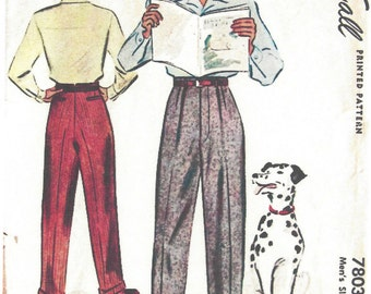 "1940s WW2 Vintage Sewing Pattern W38"" MENS PANTS TROUSERS (1311) By McCall 7803"