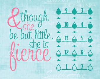 Though She be Little She is Fierce with Water Intake Tracker, SVG File, Quote Cut File, Silhouette or Cricut File, Vinyl Cut File