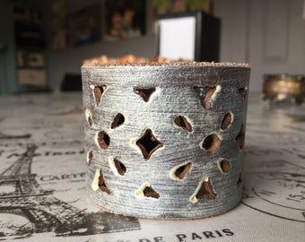 Champagne leather cuff bracelet