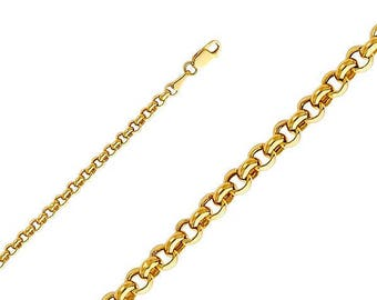"""10K Yellow Gold Hollow Rolo Necklace Chain 2.0mm 18-30"""" - Round Cable Link"""