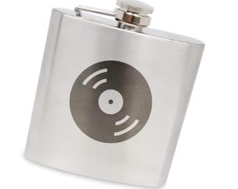 Record 6 Oz Flask, Stainless Steel Body, Handmade In Usa