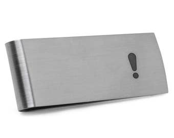 Exclamation Point Money Clip | Stainless Steel Money Clip Laser Engraved In The USA.