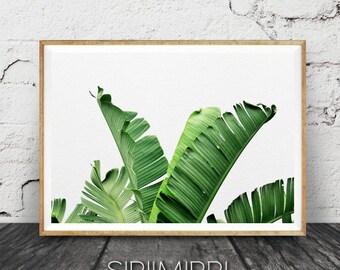 Banana Leaf Print, Tropical Leaves Print, Banana Leaves, Tropical Printable Art, Palm Digital Print, Palm Wall Decor,Wall Art,Palm Printable