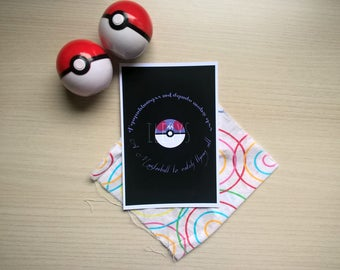 """Print of """"A Masterball to catch them all"""" 10 cm x 15 cm (A6) on matte photographic paper, design inspired by Pokemon"""