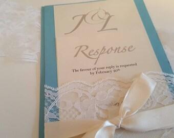 Lace Pocket Hold Wedding Invitation | Elegant | Personalised Wedding Stationery