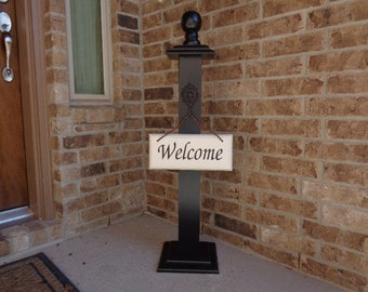 WELCOME POST 11, Free Welcome Sign, Wooden Welcome Post, Front Porch Welcome Post, Front Porch Welcome Sign, Front Porch Sign, Sign Post