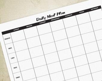Daily Meal Plan Form PDF, Digital File, Printable