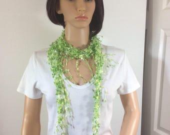 green shades scarf, prom scarf, all season scarf, gift for woman, ladies accessory, neck scarf, adaptable scarf, summer wear scarf,