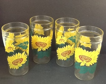 Anchor Hocking Sunflower Jelly Jar Drinking Glasses