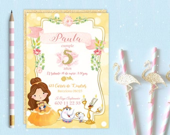 Invitation for a party. Beauty and the beast. Printable electronic download. For girls, babies.
