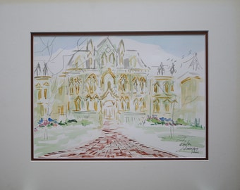 Philadelphia Collage Hall at University of Pennsylvania is Original Watercolors painting by Joe Barker DBL matted (16x20).