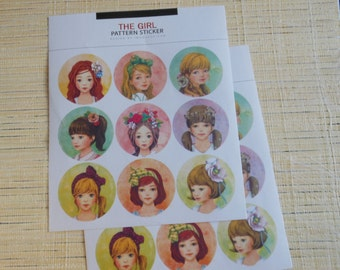 "Stickers 2 sheets 18 piece set ""fanny girl"""